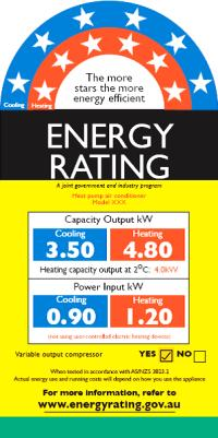 Example Energy Star rating sheet